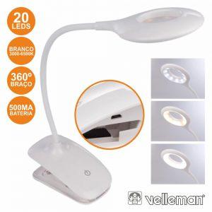 Candeeiro 20 LEDS P/ Bancada C/ Grampo E Bat VELLEMAN - (VTLLAMP15)