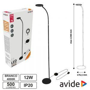 Candeeiro de Pé LED 12W 4000K 500lm Preto IP20 AVIDE - (ABLFL-12W-ANGEL-B)