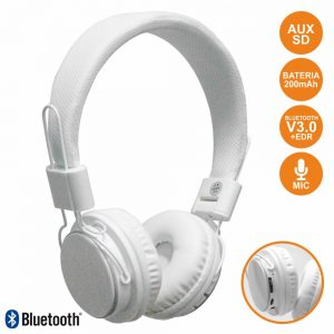 Auscultadores Bluetooth Stereo Mic Bat SD Brancos - (CAQ33-BTH)