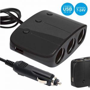 Ficha Adaptadora Isqueiro C/ 3 Saídas E 2 USB 2.1A - (CAR-TRAVELER)