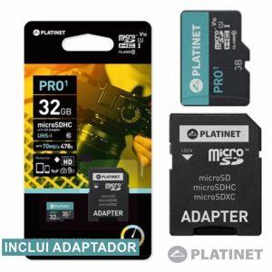 Cartão Memória Micro SDHC 32GB UHS-I Adaptador PLATINET - (PMMSD32UI)