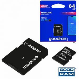 Cartão Memória Micro SD 64Gb Class10 Adaptador GOODRAM - (M1AA-0640R12)