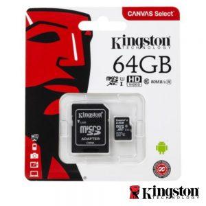 Cartão Memória Micro SDXC 64GB UHS-I Adaptador KINGSTON - (SDCS/64GB)