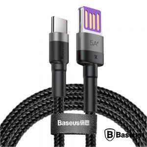 Cabo USB HW Qc P/ USB-C 5a 1M 40W Preto Cafule BASEUS - (CATKLF-PG1)