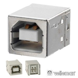 Ficha USB-B Fêmea Simples 180° P/ Pcb VELLEMAN - (CC089B)