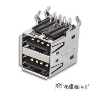 Ficha USB-A Fêmea Dupla 90° P/ Pcb VELLEMAN - (CC090)