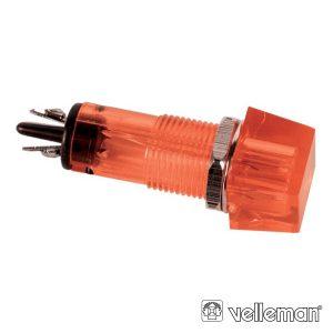 Luz Piloto Quadrado Vermelho 11.5x11.5mm 220v VELLEMAN - (CCAF220RBL)