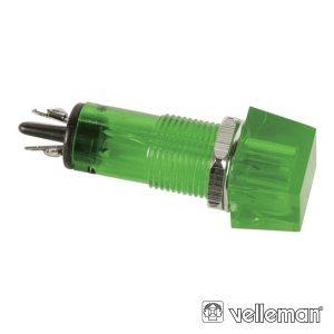 Luz Piloto Quadrado Verde 11.5x11.5mm 220v VELLEMAN - (CCAF220VBL)