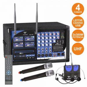 Central 4 Microfones S/ Fios Uhf + Leitor Cd/Dvd Comando - (PA180-2M2H)