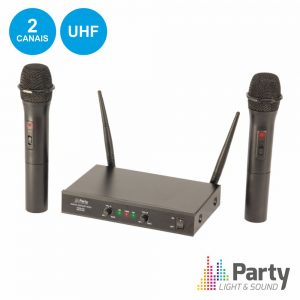 Central Microfone S/ Fios 2 Canais Uhf 863.2/864.2mhz PARTY - (PARTY-200UHF-MKII)