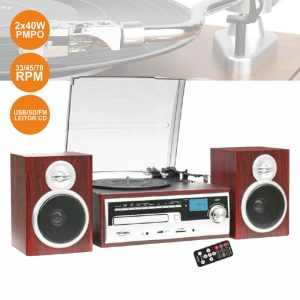 Gira-Discos 33/45/78RPM Retro 2x40W Cd/USB/SD - (CH14E)