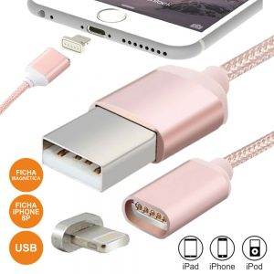 Cabo USB-A 2.0 Macho / Iphone 5/6 Magnético Rosa - (CIPHONEMAG-P)
