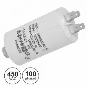 Condensador Arranque 100uf 450V + Terra - (COA100/450)