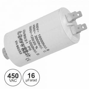 Condensador Arranque 16uf 450V + Terra - (COA16/450)