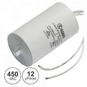 Condensador Arranque 12uf 450V + Terra C/ Fios - (COAF12/450)