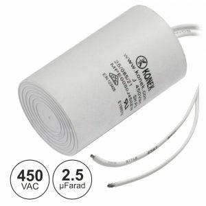 Condensador Arranque 2.5uf 450V + Terra C/ Fios - (COAF2.5/450)