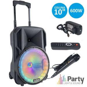"Coluna Amplificada 10"" 400W USB/BT/SD/AUX/Bat Preta PARTY - (PARTY-10RGB)"