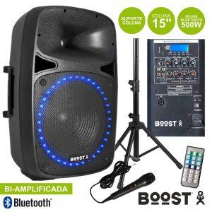"Coluna Bi-Amplificada 15"" 500Wmáx USB/BT/SD Sup/Mic Boost - (BOOST-PK15A-SET)"