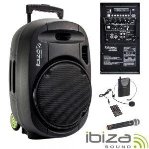 "Coluna Amplificada 12"" 700W USB/BT/SD/Bat VHF Preta IBIZA - (PORT12VHF-MKII)"