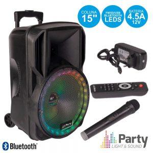 """Coluna Amplificada 15"""" USB/FM/BT/SD/Bat Vhf Preta 800W PARTY - (PARTY-15RGB)"""