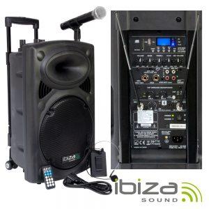 "Coluna Amplificada 12"" 700W USB/BT/SD/BAT VHF Preta IBIZA - (PORT12VHF-BT)"