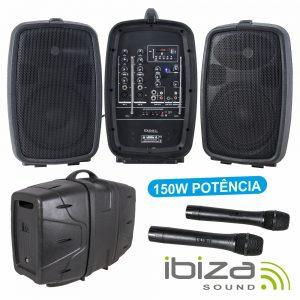 Conjunto De Som Amplificado Portátil SD/USB 150Wmáx IBIZA - (COMBO208-VHF)