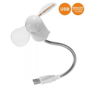 Ventoinha Silicone Flexível USB Mensagem Programável 11 LEDS - (COMP095)