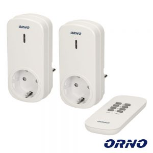 Conjunto 2 Tomadas Elétricas C/ Comando S/ Fios ORNO - (OR-GB-418(GS))