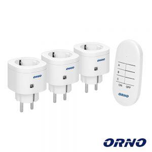Conjunto 3 Tomadas Elétricas C/ Comando S/ Fios ORNO - (OR-GB-438(GS))