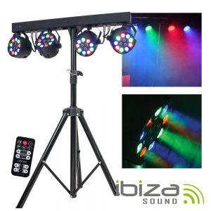 Conjunto 4 Projetores LED RGBW E Suporte IBIZA - (DJLIGHT80LED)