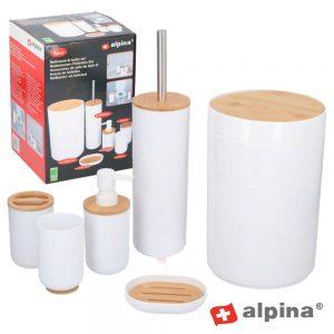 Conjunto Acessórios Casa De Banho Pp E Bambu Alpina - (ALP352)