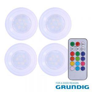 Conjunto De 4 Apliques LED RGBW C/ Comando Grundig - (10526)