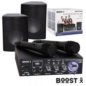 Conjunto Karaoke Amplificador 2x50W 2 Colunas 2 Mic USB Mp3 - (BOOST-KS20)