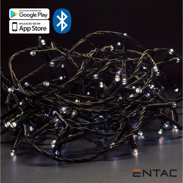 Luzes Natal 120 LEDS 3000K APP Bluetooth 220V 9mt - (ECL-BT-120WW)