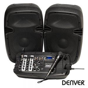Conjunto Som Amp. Portátil SD/USB/BT/MIC 400Wmáx DENVER - (DJ-200)