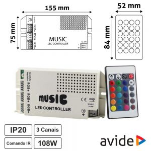 Controlador Musical p/ Fita LEDS RGB 12/24V 9A Comando AVIDE - (ABLS1224VRGB-MUSIC)