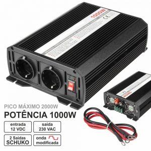 Conversor 12V-230V 1000W Onda Modificada - (CONVMOD1000/12B(K))