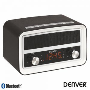 Relógio Despertador 4W AM/FM Ppl/Mp3/Aux/ Visor LED DENVER - (CRB-619BLACKMK2)