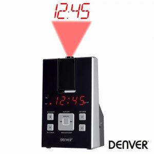 Relógio Despertador C/ Projeção 180º AM/FM DENVER - (CRP-716)