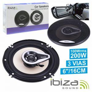 """Conjunto 2 Colunas Auto 3 Vias 200W 6"""" IBIZA - (CSP6002B)"""
