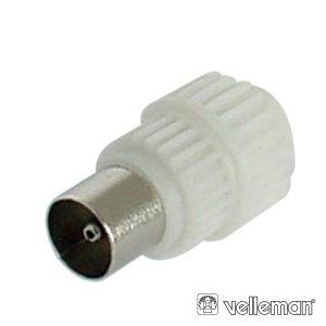 Ficha Coaxial 9.5mm/2.3mm Macho Branca Plástica - (CV003)