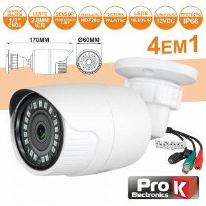 Câmara Vigilância 4in1 Analog/Ahd/Cvi/TVi 1.3mp Ip66 PROK - (CVC036LA)