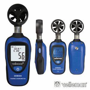 Mini Termómetro Anemómetro Digital VELLEMAN - (DEM400)