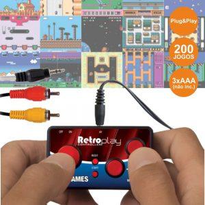 Controlador De Jogos P/ TV C/ Cabo Av E 200 Jogos Arcade - (DGUN-2579)