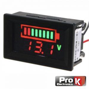 Voltimetro Digital LED 12Vdc Painel C/ Capacidade PROK - (DIGIVOL12A)