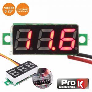 Voltimetro Digital LED Vermelho 2.5v-30Vdc PROK - (DIGIVOL30A)