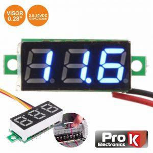 Voltimetro Digital LED Azul 2.5v-30Vdc PROK - (DIGIVOL30B)