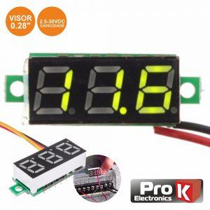 Voltimetro Digital LED Verde 2.5v-30Vdc PROK - (DIGIVOL30C)