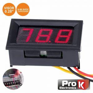 Voltimetro Digital LED Vermelho 0v-99.9Vdc Painel PROK - (DIGIVOL90A)