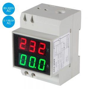 Medidor Digital Voltímetro Amperímetro P/ Montagem Calha - (DIN-2042)